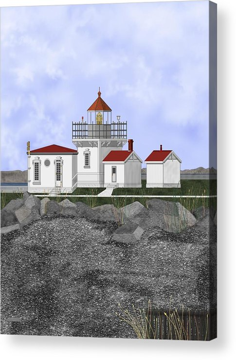 Lighthouse Acrylic Print featuring the painting Point No Point Lighthouse by Anne Norskog