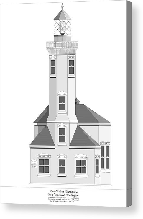 Lighthouse Acrylic Print featuring the painting Point Wilson Architectural Drawing by Anne Norskog