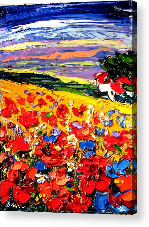 Artwork Acrylic Print featuring the painting Poppies In The Spring Time. by Maya Green