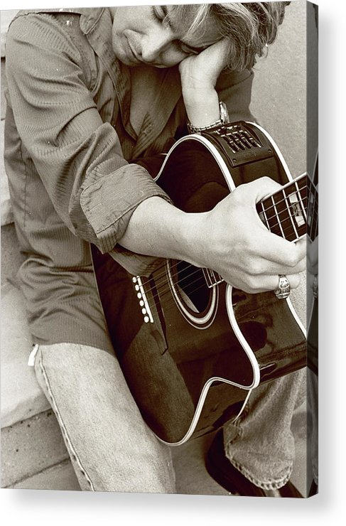 Guitar Acrylic Print featuring the photograph Portrait With Guitar 2 by Linnea Tober