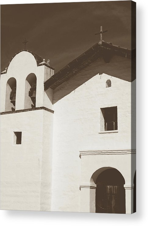 Sepia Acrylic Print featuring the photograph Presidio Chapel- Art By Linda Woods by Linda Woods