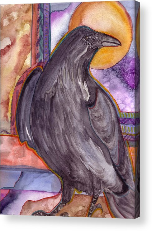 Wildlife Acrylic Print featuring the painting Raven Steals Sunlight by K Hoover