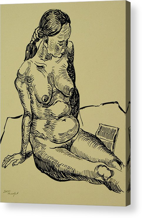 Woman Acrylic Print featuring the drawing Reading Naked Woman by Vitali Komarov