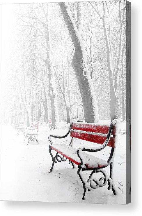 Beautiful Acrylic Print featuring the photograph Red Bench In The Snow by Jaroslaw Grudzinski