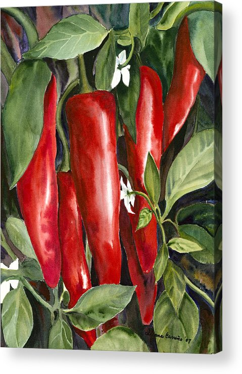 Red Chili Peppers Acrylic Print featuring the painting Red Chili Peppers by Ileana Carreno