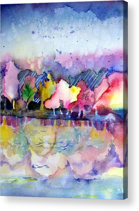 Landscape Acrylic Print featuring the painting Reflections by Mindy Newman