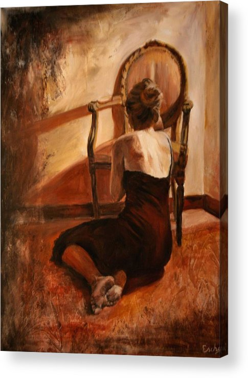 Woman Acrylic Print featuring the painting Rilassare by Escha Van den bogerd