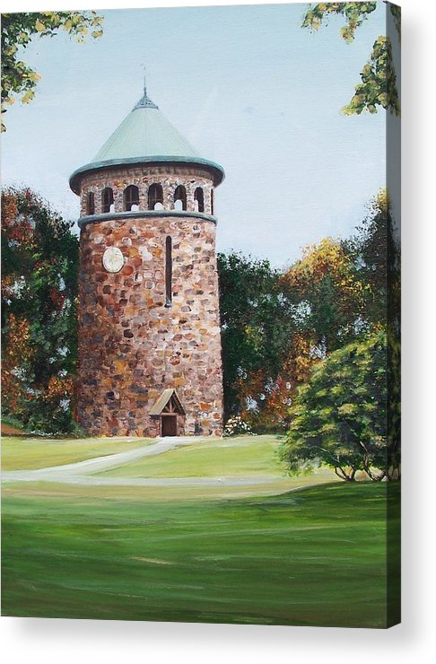 Historic Delaware Acrylic Print featuring the painting Rockford Tower by Ronald Lightcap