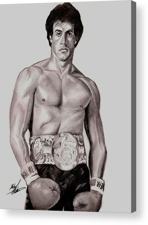 Rocky Acrylic Print featuring the drawing Rocky 3 by Michael Mestas