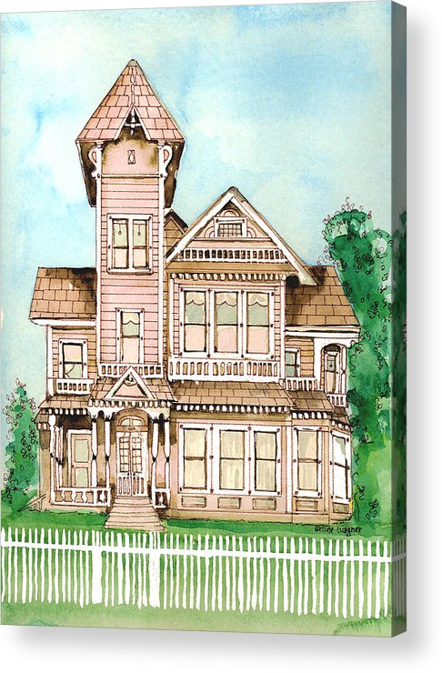 Victorian Inn Acrylic Print featuring the painting Rose Victorian Inn - Arroyo Grande Ca 1886 by Arline Wagner