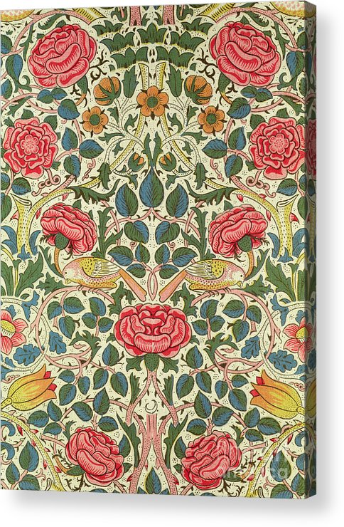 Arts And Crafts Movement; Floral; Pattern; Chintz Acrylic Print featuring the painting Rose by William Morris