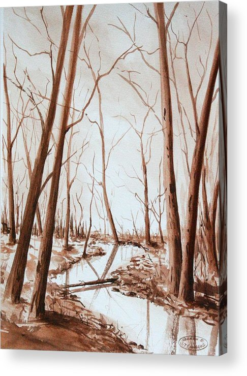 Sepia Watercolour Of Trees Acrylic Print featuring the painting Rotary Bog by Sharon Steinhaus