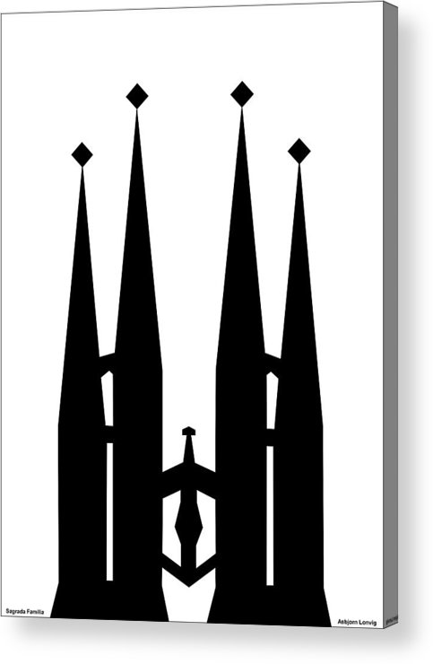 Sagrada Familia Acrylic Print featuring the digital art Sagrada Familia by Asbjorn Lonvig