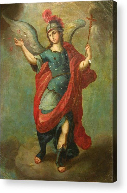 Religion Acrylic Print featuring the painting San Miguel Arcangel by Unknown