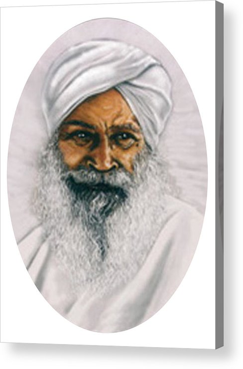Pastels Acrylic Print featuring the painting Sant Kirpal Singh by Winifred Ann Weishampel