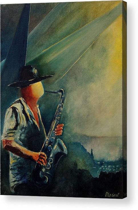 Music Acrylic Print featuring the painting Sax Player by Pol Ledent