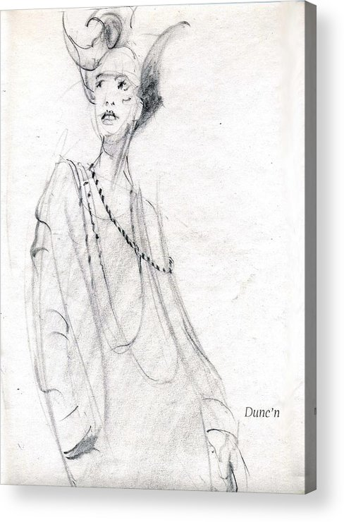 Lady With Scary Look Acrylic Print featuring the drawing Scary by Bob Duncan