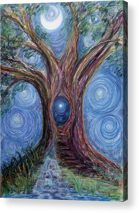Tree Acrylic Print featuring the drawing Seek Your Source In The Spring by Kasi Kennedy
