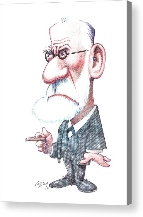 Portrait Acrylic Print featuring the photograph Sigmund Freud, Caricature by Gary Brown