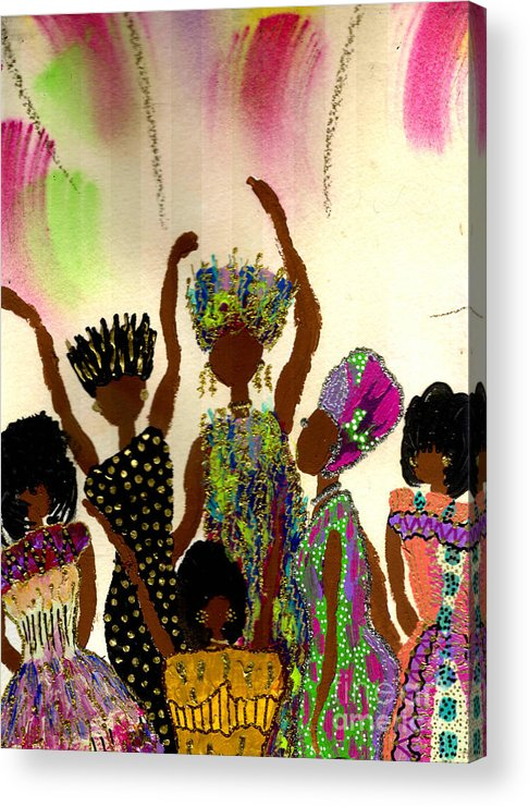 Vibrant Acrylic Print featuring the painting Sisterhood by Angela L Walker