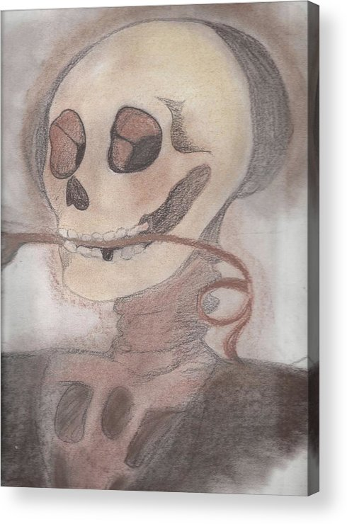 Skull Acrylic Print featuring the drawing Skulls A Wimzy by Crystal Guzman