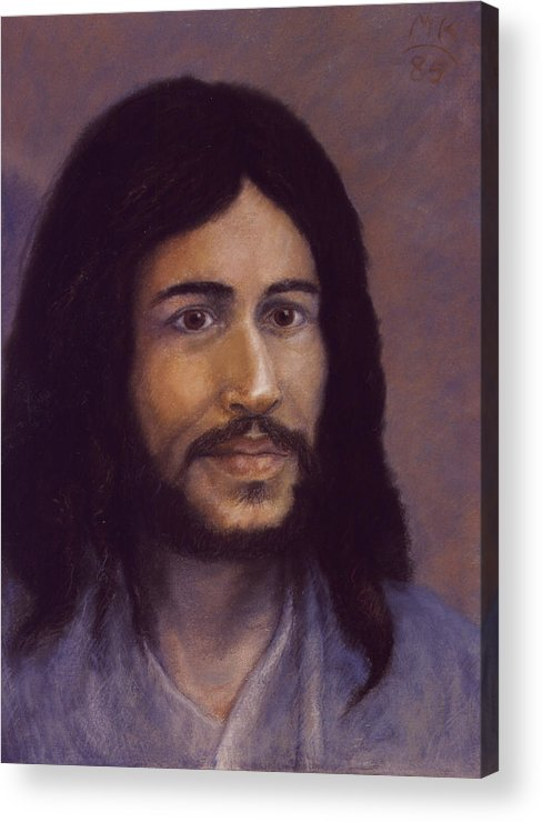 Jesus Acrylic Print featuring the painting Smiling Jesus by Miriam A Kilmer