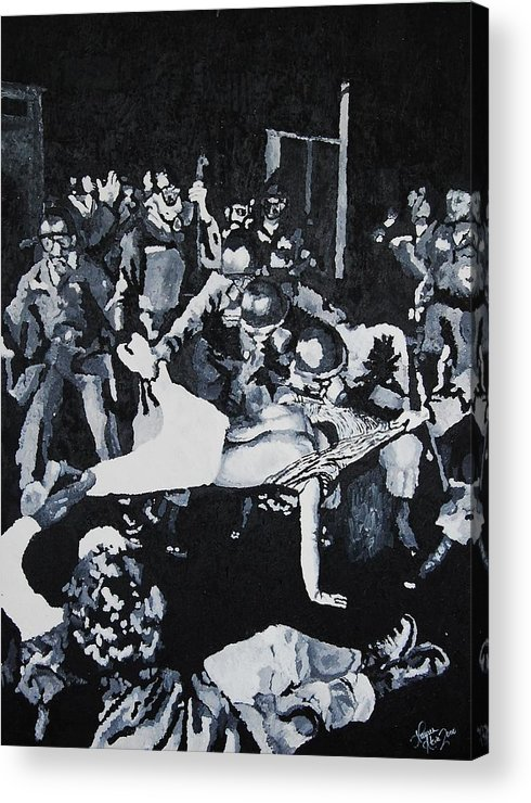 Civil Rights Acrylic Print featuring the painting Sncc Photographer Is Arrested By National Guard by Lauren Luna