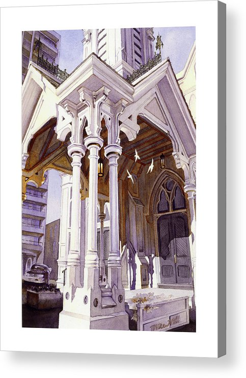 Holy Spirit Church Pillars Three God Jesus Old Church Michael Harrison Christmas Songs Music Doors Acrylic Print featuring the painting Spirits Of The Old Church by Mike Hill