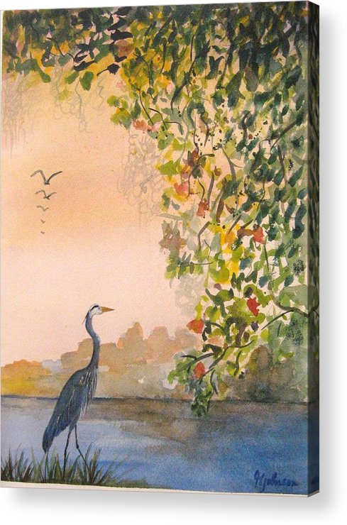 Blue Heron Acrylic Print featuring the painting Splendor In The Grass by Georgia Johnson