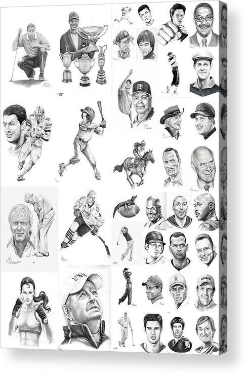 Pencil Acrylic Print featuring the drawing Sports Figures Collage by Murphy Elliott