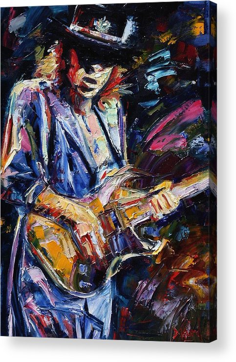Stevie Ray Vaughan Painting Acrylic Print featuring the painting Stevie Ray Vaughan by Debra Hurd