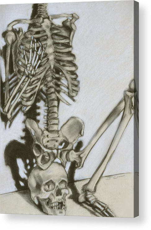 Skeleton Acrylic Print featuring the drawing Still Life by John Clum