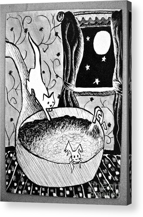 Cats Acrylic Print featuring the painting Strangers In Bathtubs by Tina Schofield