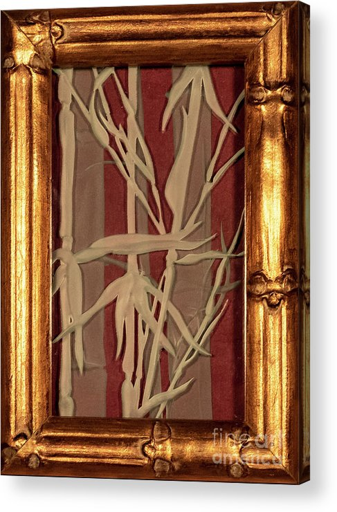 Bamboo Acrylic Print featuring the glass art Sunset Bamboo With Frame by Alone Larsen