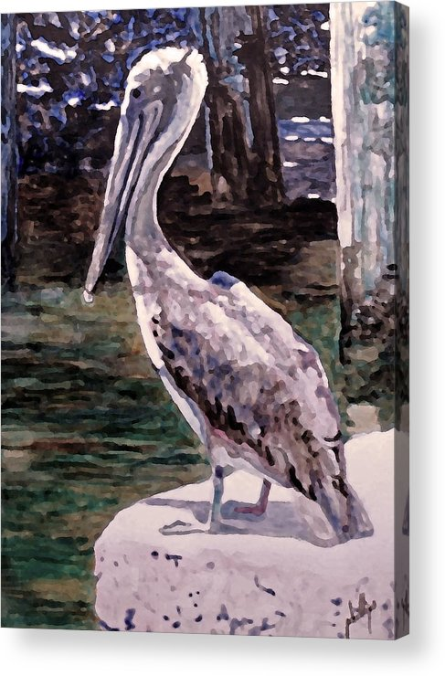 Pelican Acrylic Print featuring the painting Taking A Break by Jim Phillips