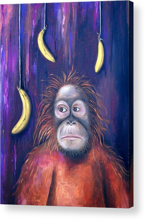 Bananas.ape Acrylic Print featuring the painting Temptation by Leah Saulnier The Painting Maniac