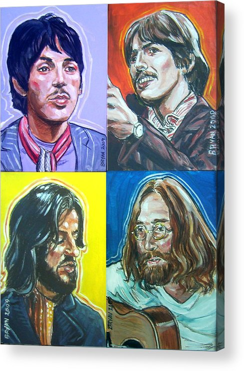 The Beatles Acrylic Print featuring the painting The Beatles - Montage by Bryan Bustard