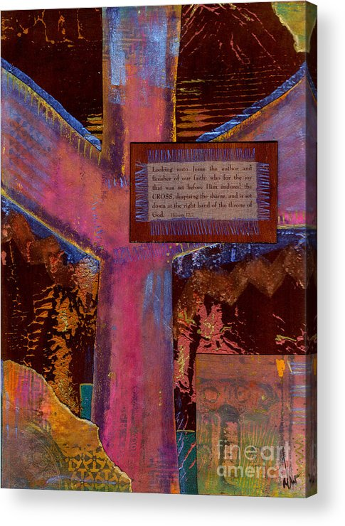 Wood Acrylic Print featuring the mixed media The Cross by Angela L Walker
