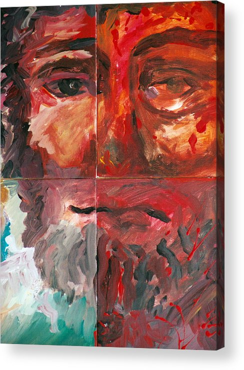 Jesus Acrylic Print featuring the painting The Face Of Love by Jun Jamosmos