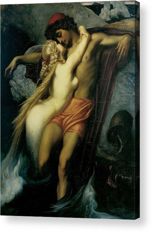 Frederick Leighton Acrylic Print featuring the painting The Fisherman And The Syren by Frederick Leighton