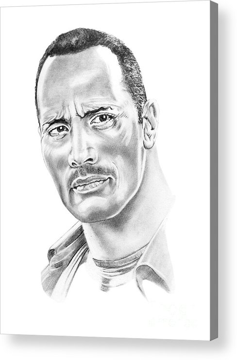 Pencil Acrylic Print featuring the drawing The Roc  Dwain Johnson by Murphy Elliott