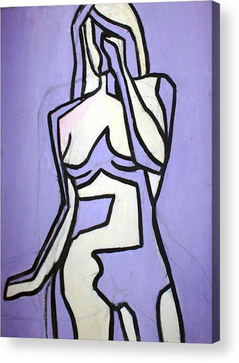 Nudes Acrylic Print featuring the painting Three by Thomas Valentine