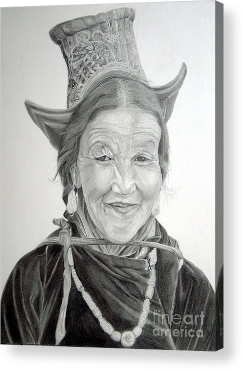 Figurative Art Acrylic Print featuring the drawing Tibetan Delight by Portraits By NC