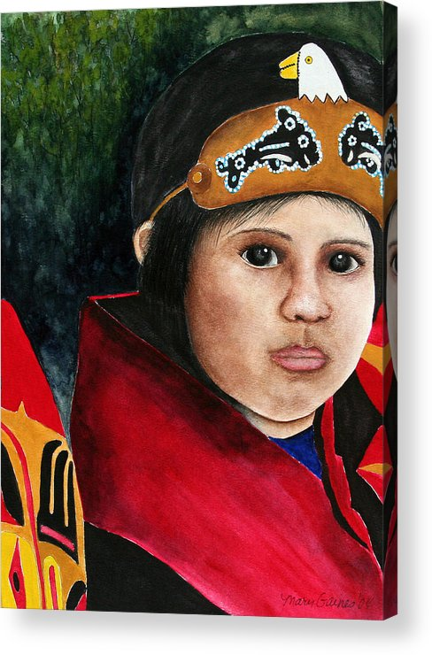 Native Acrylic Print featuring the painting Tinglit Native Girl by Mary Gaines