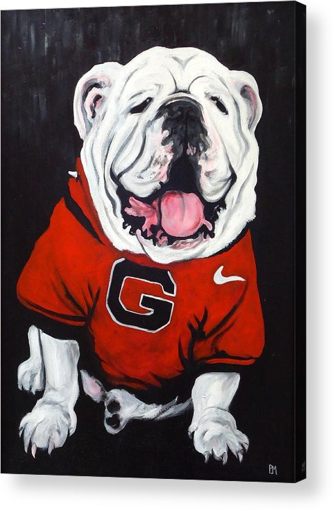 Bulldog Acrylic Print featuring the painting Top Dawg by Pete Maier