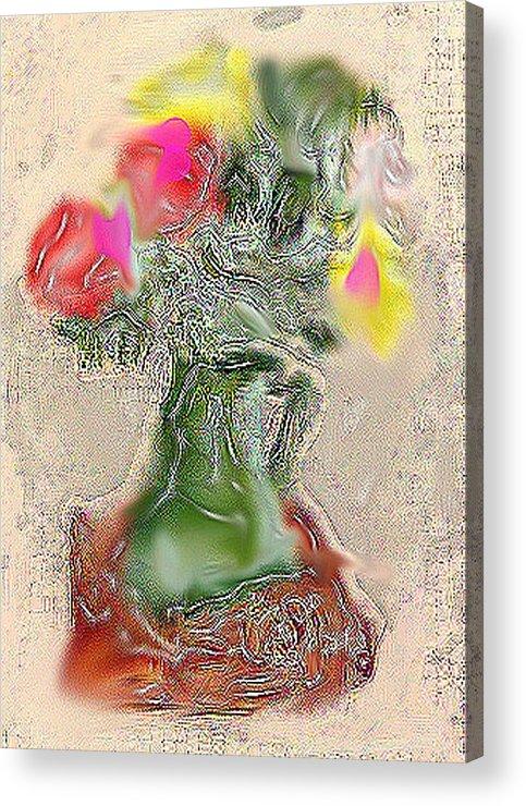 Still Life Acrylic Print featuring the mixed media Vase by Joyce Goldin