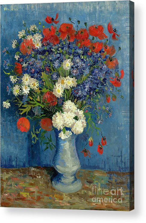 Still Acrylic Print featuring the painting Vase With Cornflowers And Poppies by Vincent Van Gogh