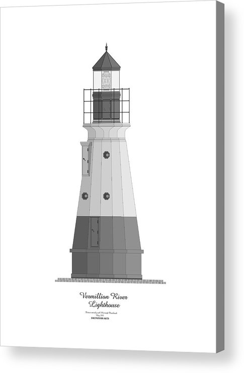 Lighthouse Acrylic Print featuring the painting Vermillion River Lighthouse Architectural Rendering by Anne Norskog