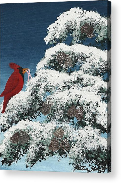 Cardinal Acrylic Print featuring the painting Victorious by Katie Slaby