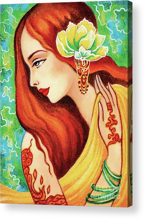 Indian Woman Acrylic Print featuring the painting Water Lily by Eva Campbell